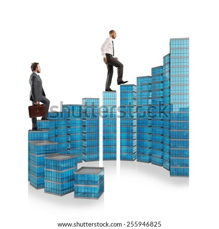 Business people climb the ladder of success - stock photo