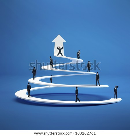 Business people climb the spiral of success. Concept  career - stock photo