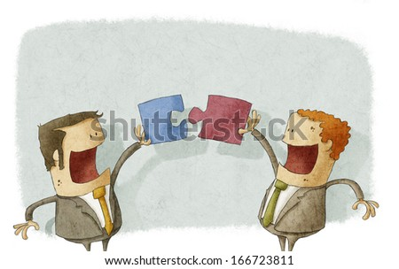 Business people collaborate puzzle - stock photo
