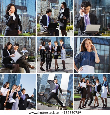 Business people collage made of some different elements - stock photo