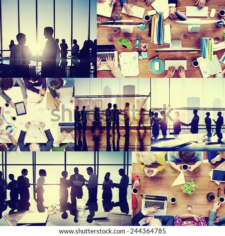 Business People Colleagues Interaction Communication Office Collage Concept - stock photo