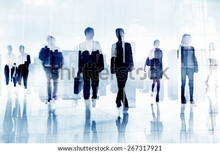 Business People Colleagues Walking Commuting Concept - stock photo