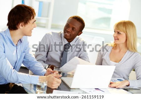 Business people communicating at meeting - stock photo