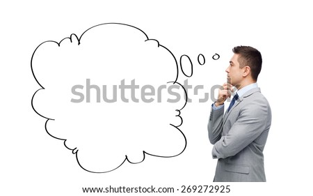 business, people, communication and information concept - thinking businessman in suit with text bubble doodle making decision - stock photo