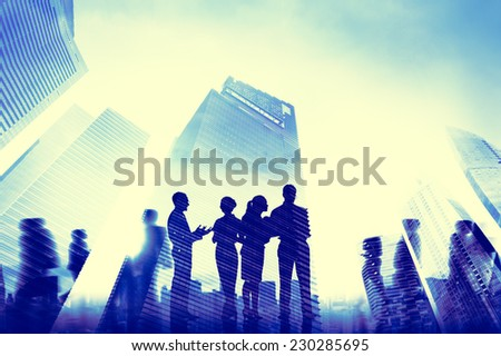 Business People Communication Cityscape Concept - stock photo