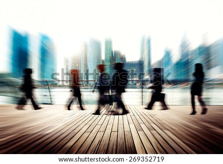 Business People Commuter City Life Busy Concept - stock photo