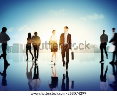 Business People Commuter Corporate Cityscape Pedestrian Concept - stock photo