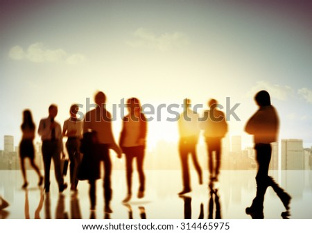 Business People Commuter Corporate Cityscape Pedestrian Concept - stock photo