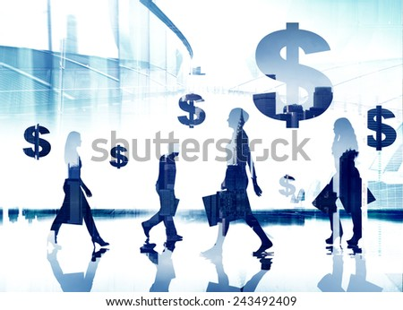 Business People Commuter Dollar Sign Money Making Concept - stock photo