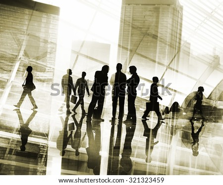Business People Commuter Rush Hour Busy Working Concept