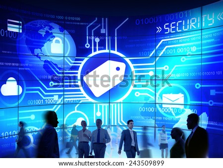 Business People Commuter Technology Security Marketing Tag Concept - stock photo