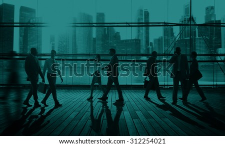 Business People Commuter Travel Walking Corporate Concept - stock photo