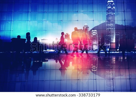 Business People Commuter Walking Rush Hour Concept - stock photo