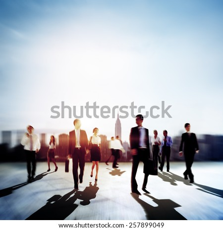 Business People Commuting Rush Hour City Life Concept - stock photo