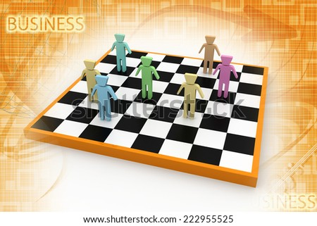 business people competition on chessboard  - stock photo