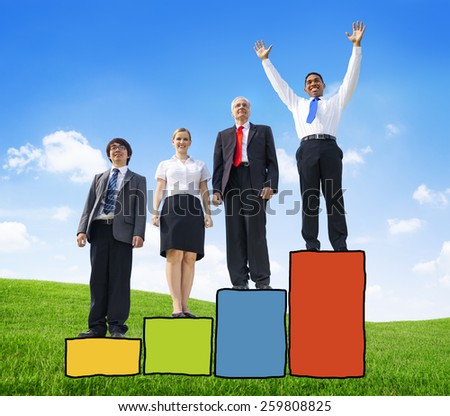 Business People Competition Performance Success Development Excellence Happiness - stock photo