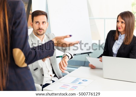 Business people conflict problem working in team together