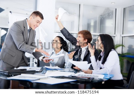 business people conflict problem working in team together, businessmen and women serious argument negative emotion businesspeople meeting at desk office