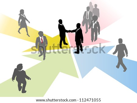 Business people connect to collaborate or team up on converging arrows - stock photo