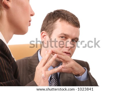business people conversation - close up - stock photo