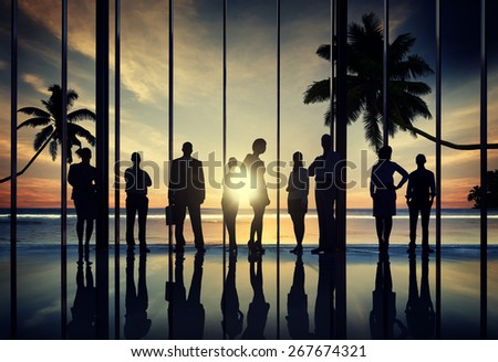 Business People Corporate Beach Summer Office Concept - stock photo