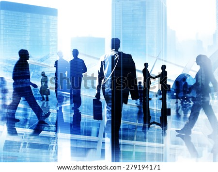 Business People Corporate Commuter Rush Hour City Concept - stock photo