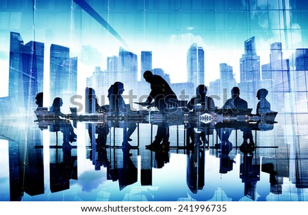 Business People Corporate Meeting Cityscape Professional Concept - stock photo