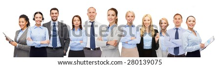business, people, corporate, teamwork and office concept - group of happy businesspeople - stock photo