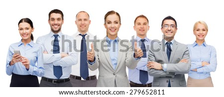 business, people, corporate, teamwork and office concept - group of happy businesspeople showing thumbs up - stock photo
