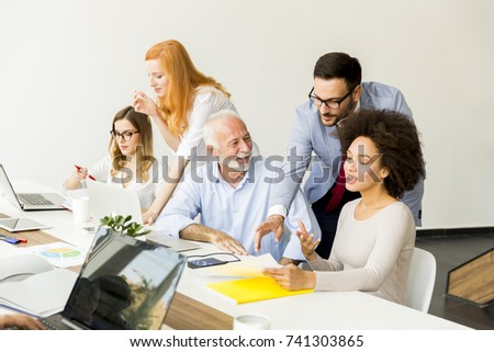 Business people discussing a strategy and working together in office