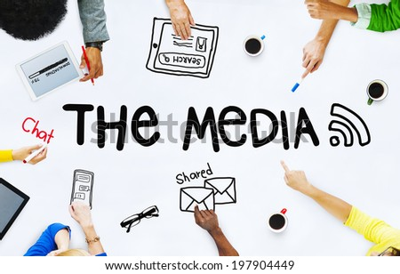 Business People Discussing About Media - stock photo