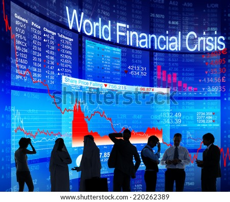 Business People Discussing About World Financial Crisis - stock photo