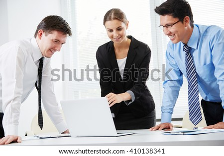 Business people discussing at meeting - stock photo