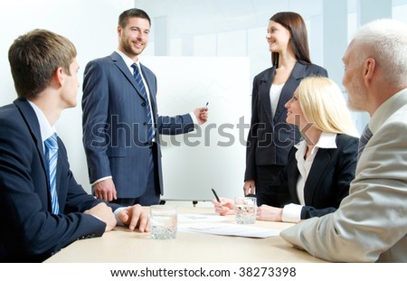 Business people discussing in a training