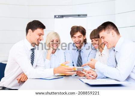 business people discussion on meeting, businessmen smile talking laughing, happy group businesspeople team sitting at desk in office, communicate