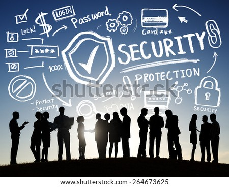 Business People Discussion Security Protection Information Concept - stock photo