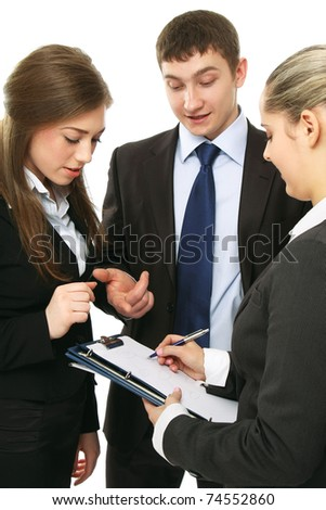 Business people duscussing something - stock photo