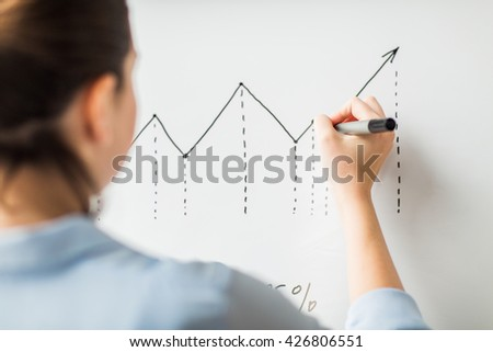 business, people, economics, analytics and statistics concept - close up of woman with marker drawing graph on flip chart at office - stock photo