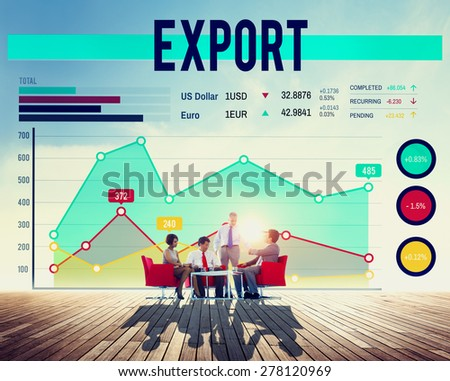 Business People Export Graph Concept - stock photo