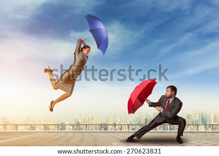 Business people fighting  - stock photo