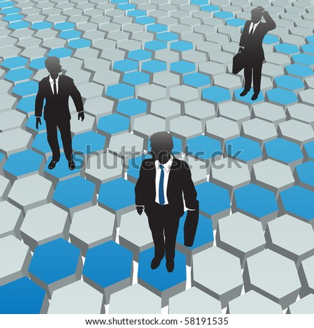 Business people find solutions in a social media hexagon network. - stock photo