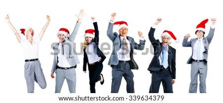 Business People Friendship Celebration Christmas Concept - stock photo