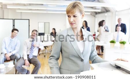 Business people getting bad mood - stock photo