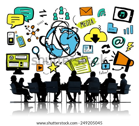 Business People Global Media Brainstorming Meeting Concept - stock photo