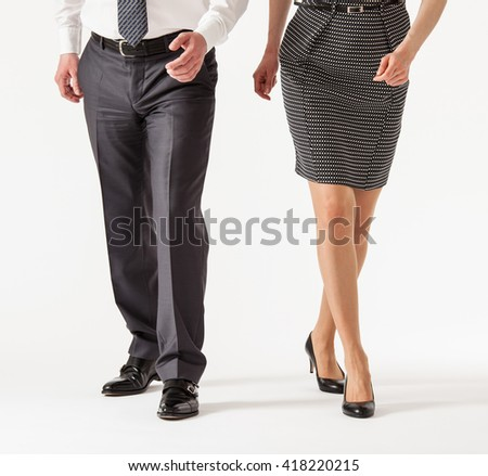 Business people going forth, white background - stock photo