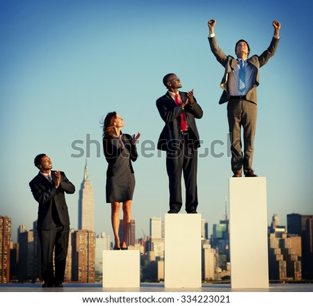 Business People Graph Success Growth Winning Concept - stock photo