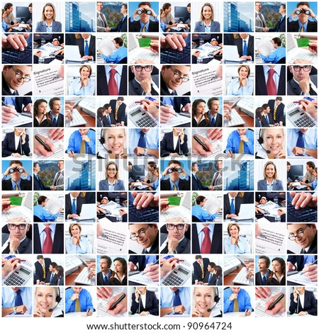 Business people group collage. Businessmen and business woman. - stock photo