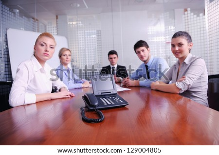 business people group have video meeting at office - stock photo