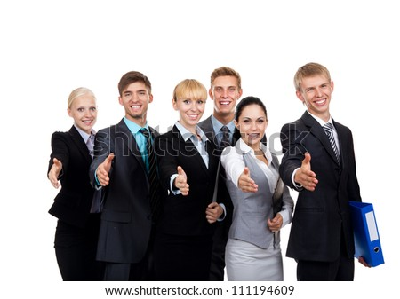 Business people group hold hand shake welcome gesture, young businesspeople standing together happy smile handshake, Isolated over white background - stock photo
