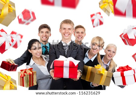 Business people group holding present gift box fall fly around, young businesspeople standing together happy smile give wrapped gift boxes, portrait Isolated over white background